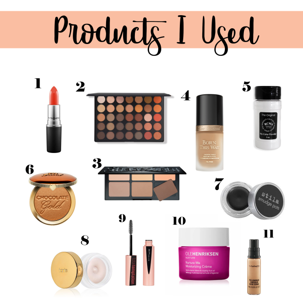 products used to create the look